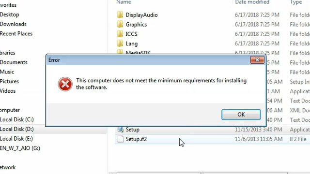 khắc phục lỗi this computer does not meet the minimum requirements for installing the software